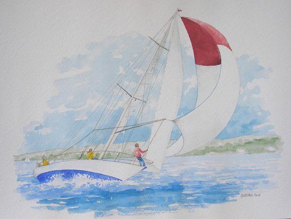 Aquarelle d 39 un voilier dans le vent - Dessins de voiliers ...